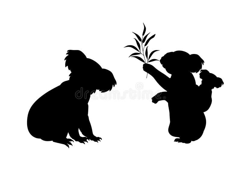 Koala family. Silhouettes of animals. Vector illustrator stock illustration