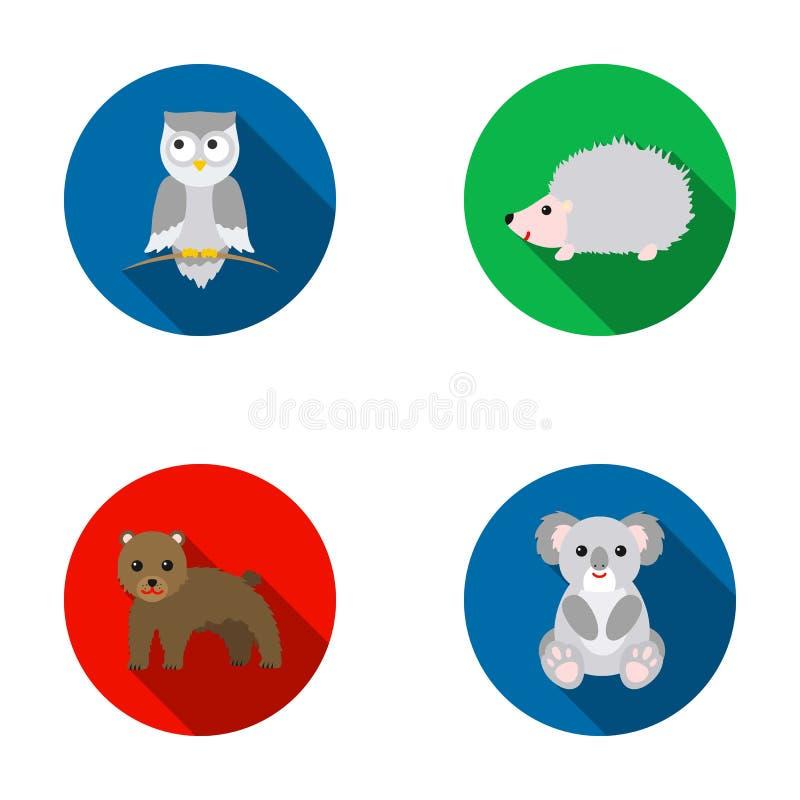 Koala, gufo, orso, istrice Le icone stabilite della raccolta dell'animale nello stile piano vector il web di riserva dell'illustr royalty illustrazione gratis
