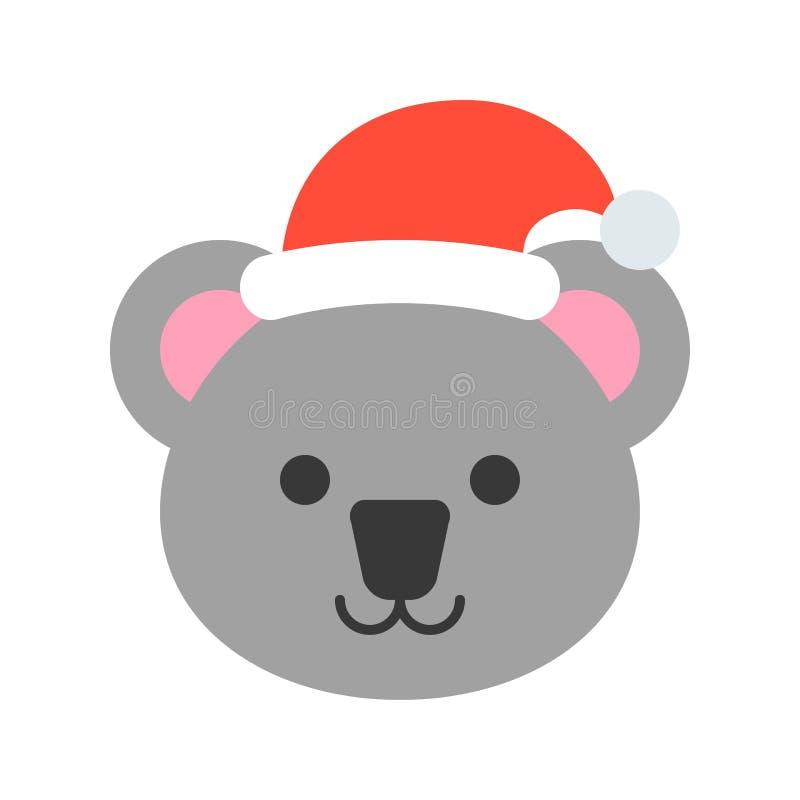 Koala jest ubranym Santa ikony kapeluszowego płaskiego projekt royalty ilustracja
