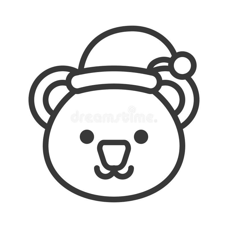 Koala jest ubranym Santa konturu kapeluszowej ikony editable uderzenia ilustracja wektor