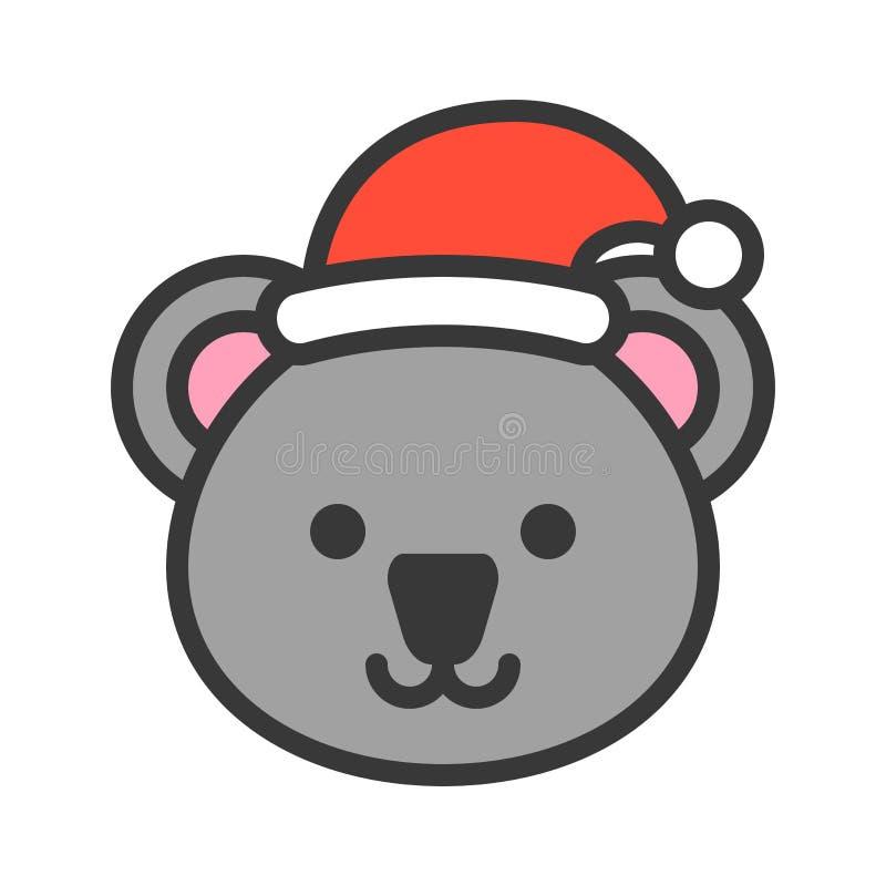Koala jest ubranym Santa konturu kapeluszowej ikony editable uderzenia royalty ilustracja