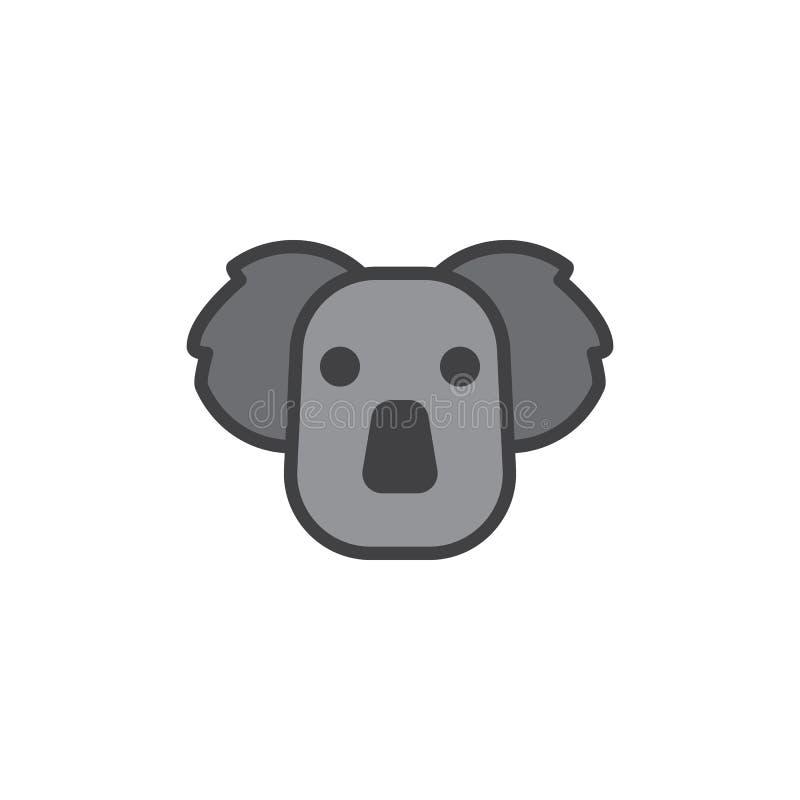 Koala konturu głowa wypełniająca ikona ilustracja wektor