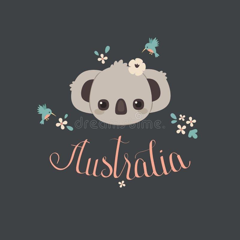 Koala linda del bebé con el colibrí y las flores libre illustration