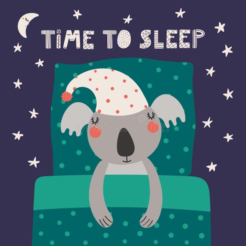 Koala lindo el dormir stock de ilustración