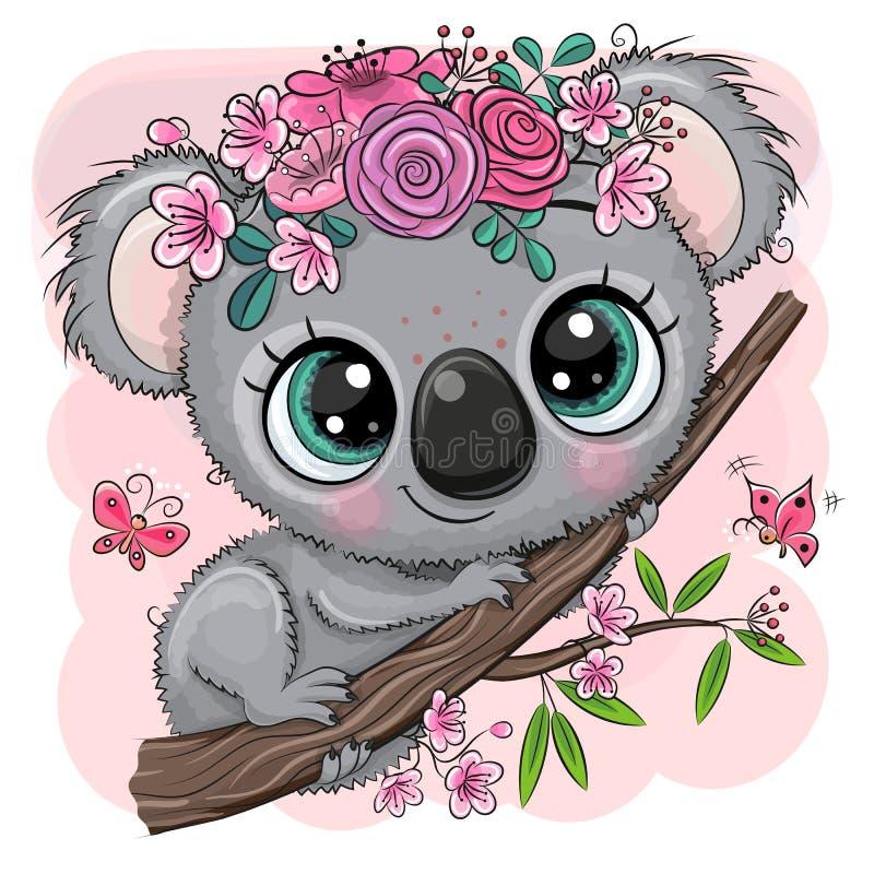 Koala med blommor på ett träd på en rosa bakgrund stock illustrationer