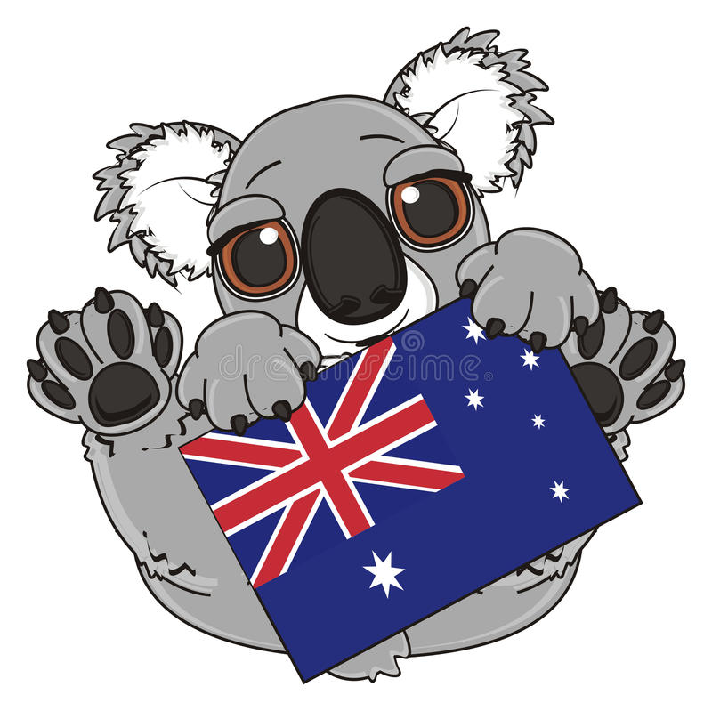 Koala med flaggan stock illustrationer