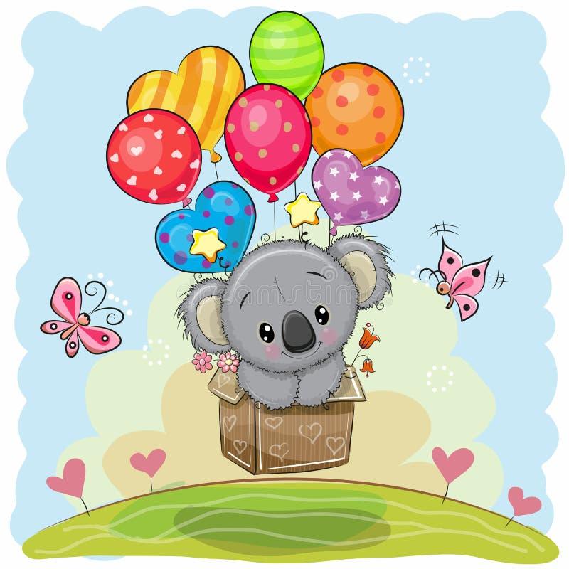 Koala mignon de bande dessinée avec des ballons illustration stock
