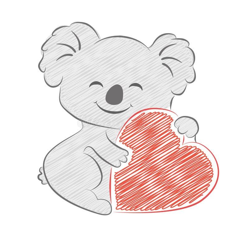 Koala mignon de bande dessinée tenant le croquis de coeur Style peint par crayon images libres de droits