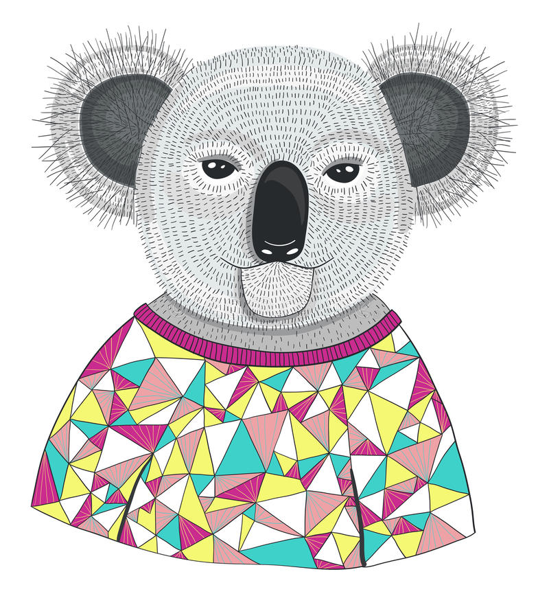 Koala mignon de hippie. illustration de vecteur
