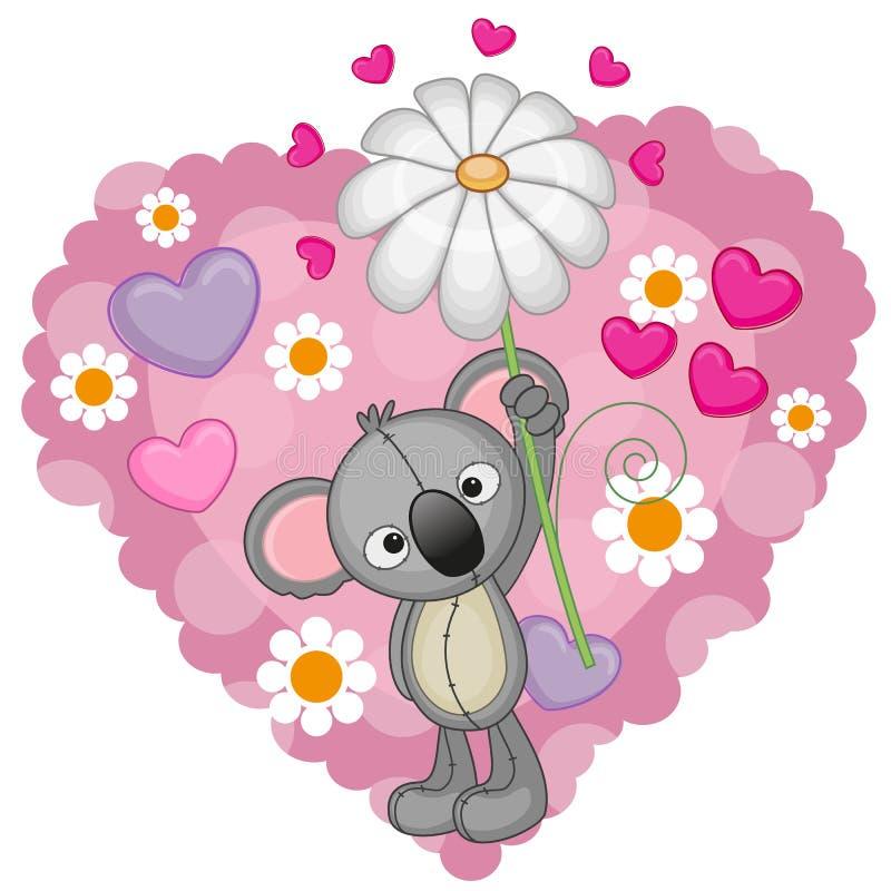 Koala mit Herzen und Blume stock abbildung