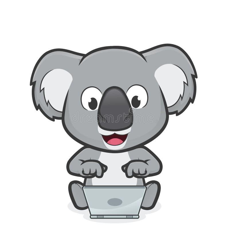 Koala mit Laptop lizenzfreie abbildung