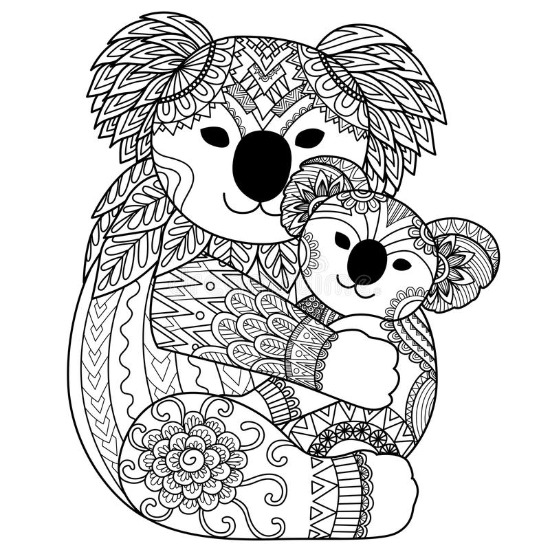 Koala mother cuddling her baby stock vector illustration for Koala coloring page