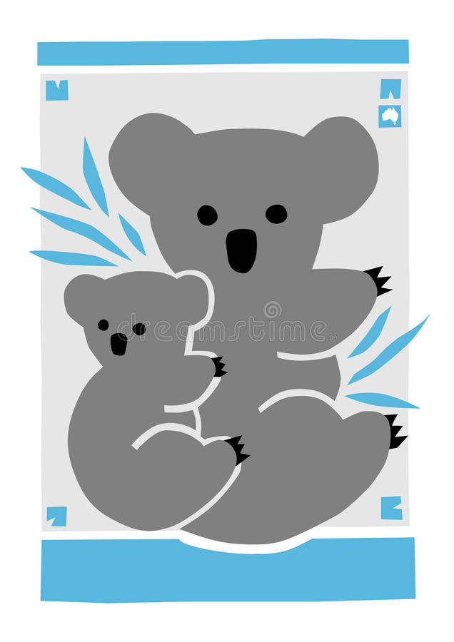 Koala-Mutter mit Joey vektor abbildung