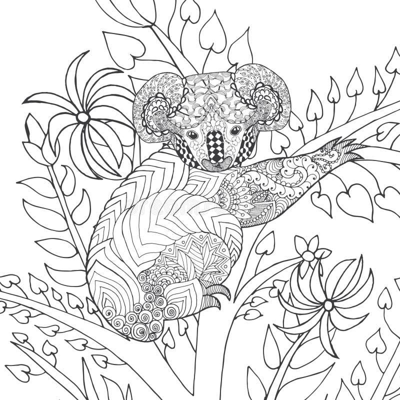 Koala na drzewnej kolorystyki stronie fotografia stock