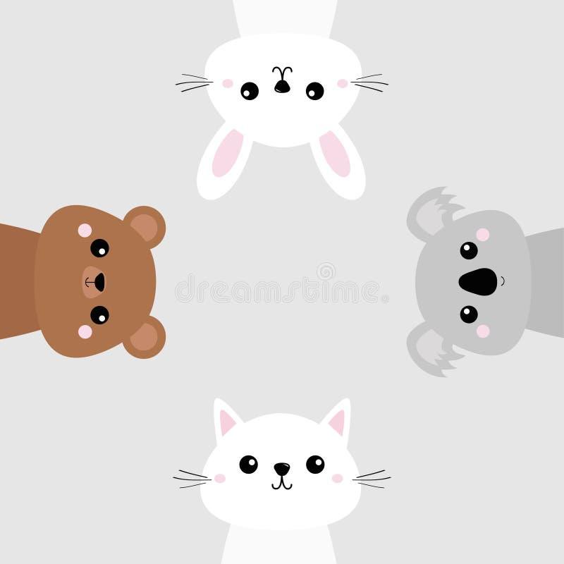 Koala, niedźwiadkowy grizzly, królik, zając, kot figlarki głowy twarzy set Różowi policzki Śliczny postać z kreskówki Zwierzęcia  royalty ilustracja