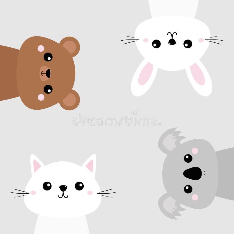 Koala, niedźwiadkowy grizzly, królik, zając, kot figlarki głowy twarzy set Różowi policzki Śliczny postać z kreskówki Zwierzęcia  ilustracja wektor