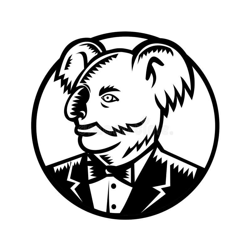 Koala niedźwiedź Jest ubranym smokingu Woodcut royalty ilustracja