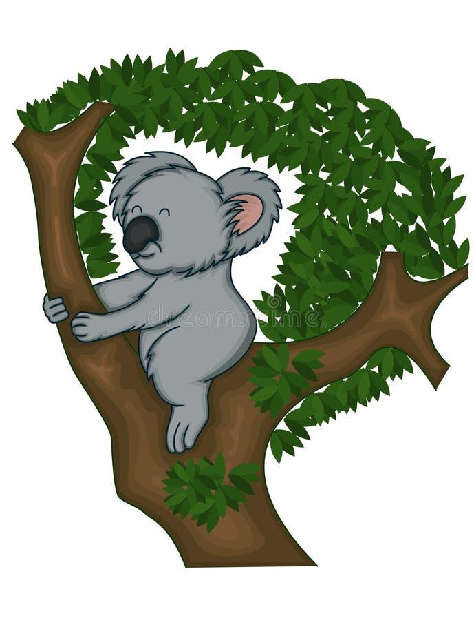 Koala niedźwiedź na drzewie ilustracji