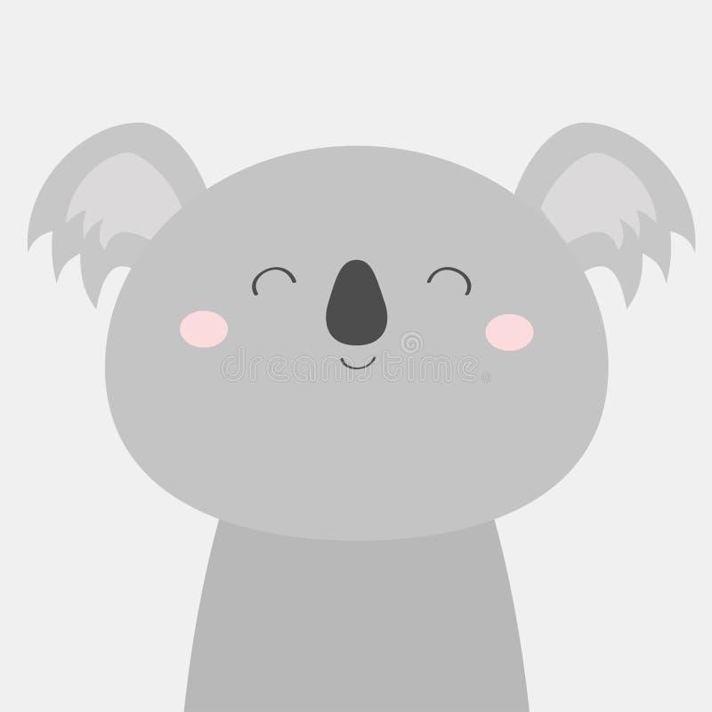 Koala niedźwiedzia twarzy głowy ikona Kawaii zwierz? ?liczny posta? z kresk?wki ?mieszny dziecko z oczami, nos, ucho Dzieciaka dr ilustracja wektor