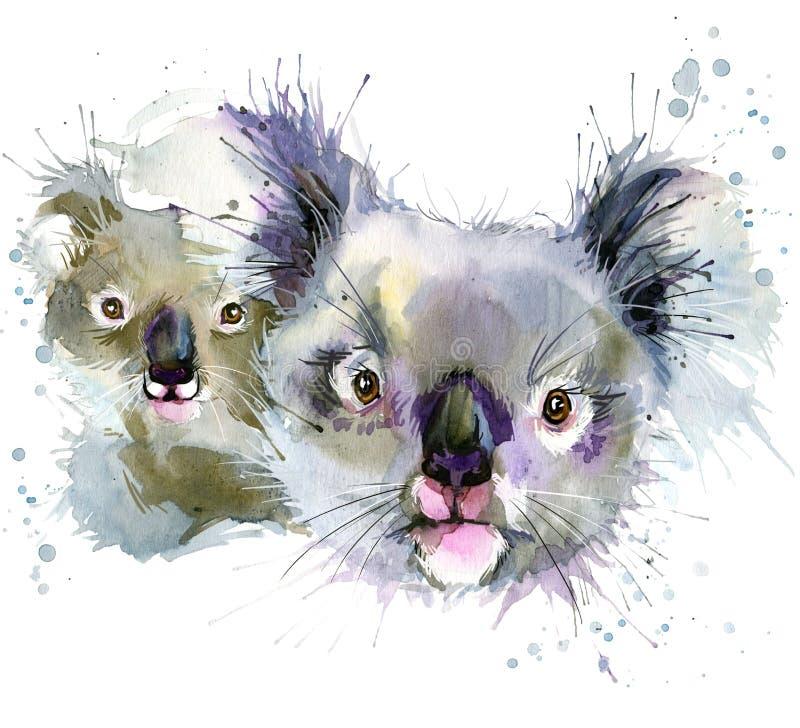 Koala- och gröngölingT-tröjadiagram, koalaillustration med färgstänkvattenfärgen texturerade bakgrund royaltyfri illustrationer