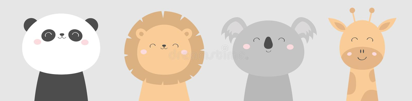 Koala Panda bear Giraffe Lion face head icon set. Kawaii animal. Cute cartoon character. Funny baby kids print. Love Greeting card. Flat design. White stock illustration