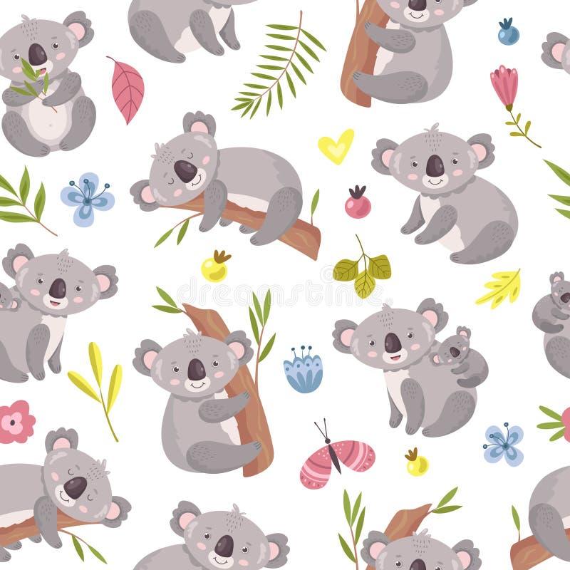 Koala seamless pattern. Cartoon cute australian bear texture. Forest animals with eucalyptus trees and leaves. Vector stock illustration