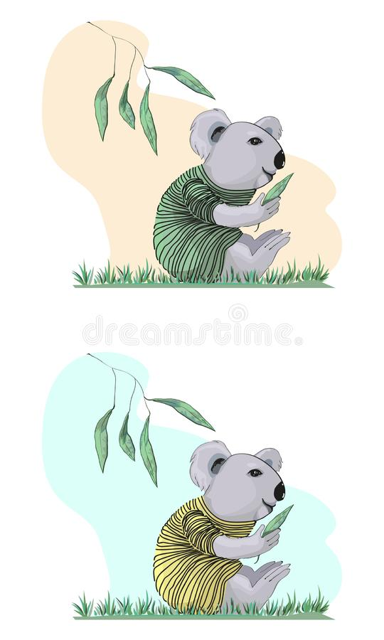 Koala in a striped sweater in a cartoon style vector illustration