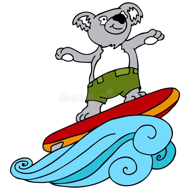 koala surfing ilustracji