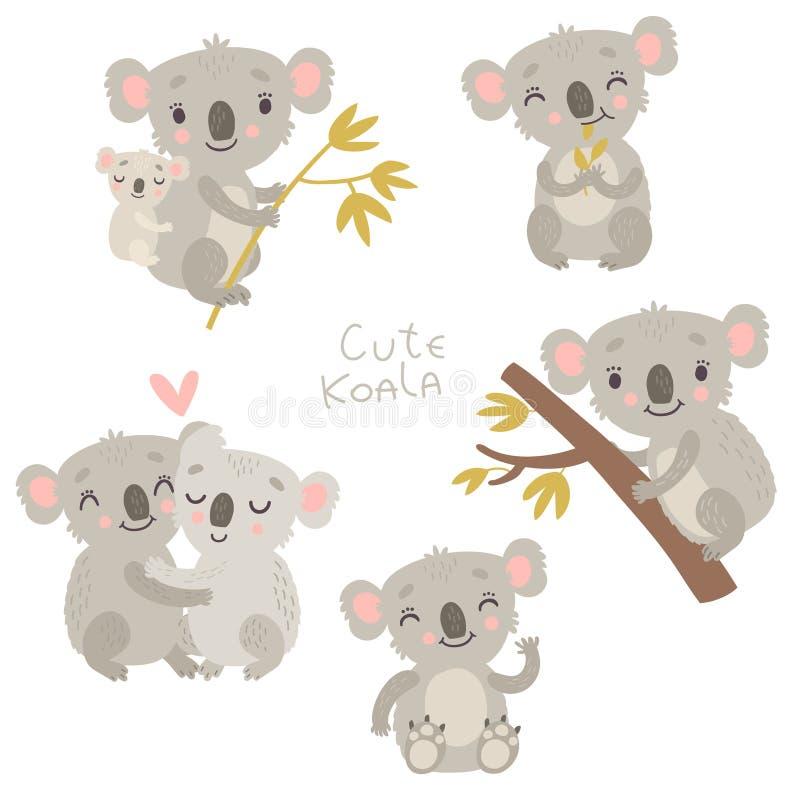 Koala sveglio Insieme dei caratteri, vettore illustrazione di stock