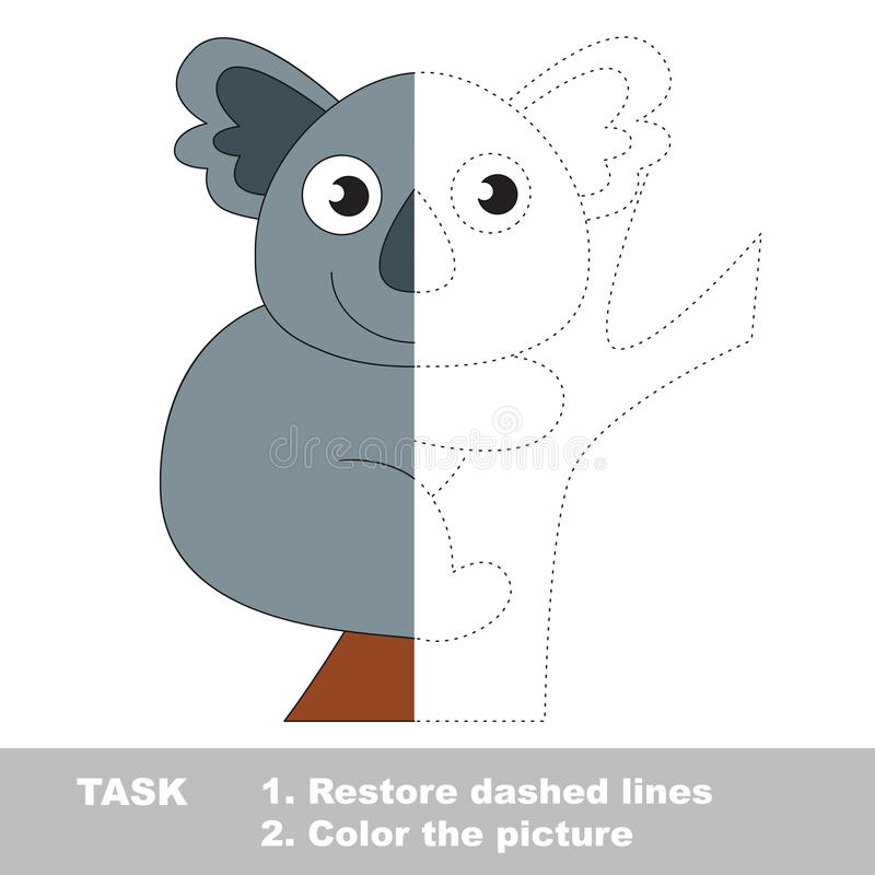 Koala To Be Colored. Vector Trace Game. Stock Vector - Illustration ...