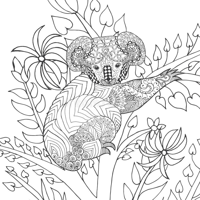 Koala on tree coloring page. stock photography