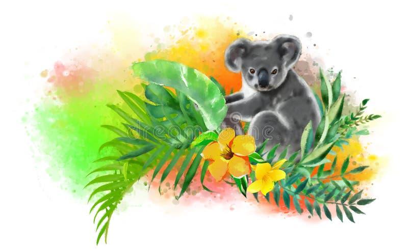 Koala in tropische kleuren op een regenboogachtergrond van dalingen van verf royalty-vrije illustratie