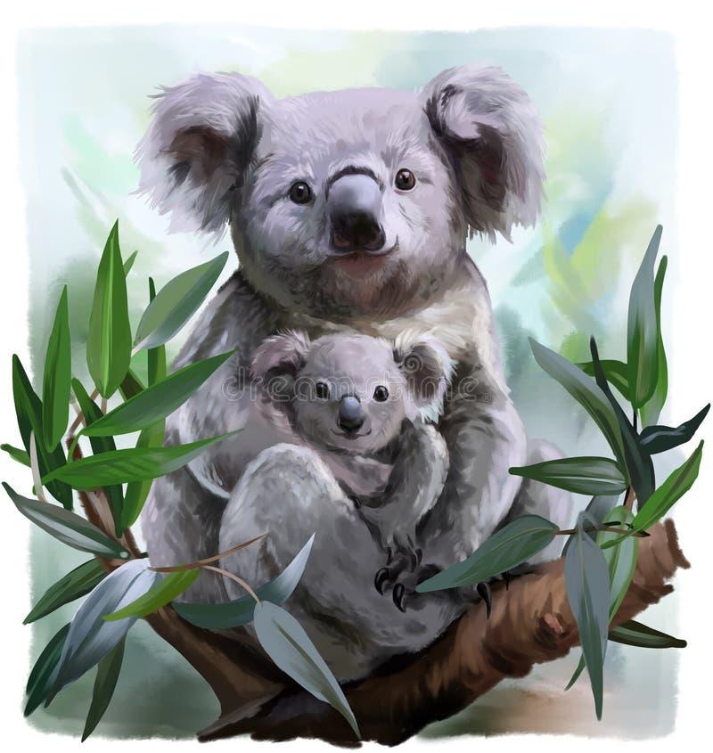 Koala und ihr Baby lizenzfreie abbildung