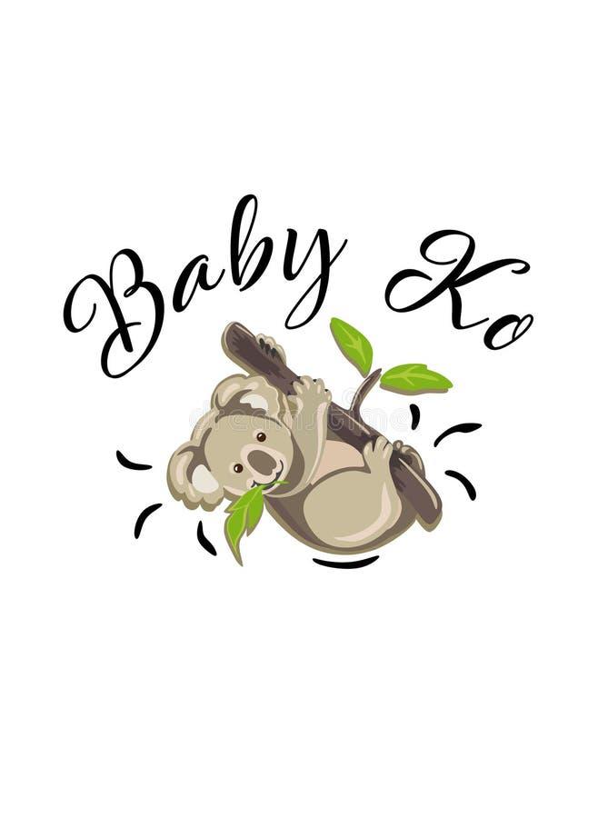 Koala vector illustration.Little Baby Ko cartoon. Koala vector illustration .Kid`s,baby`s shirt design, textile, fashion print design,fashion graphic, little stock illustration