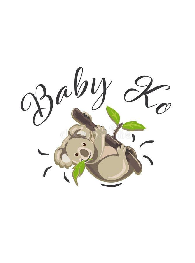 Koala vector illustration.Little Baby Ko cartoon. Koala vector illustration .Kid`s,baby`s shirt design, textile, fashion print design,fashion graphic, little royalty free illustration