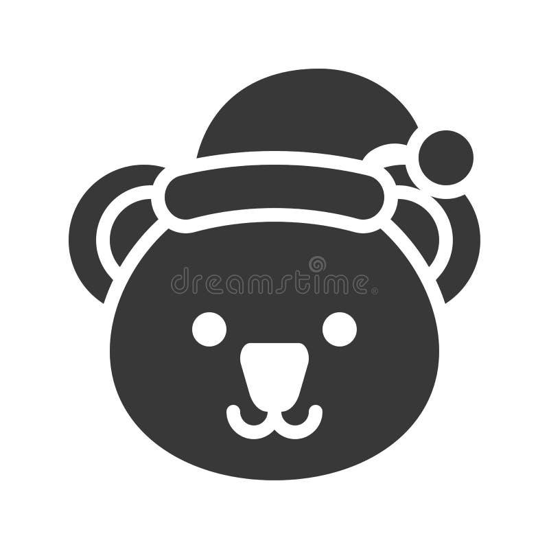 Koala wearing santa hat silhouette icon design. Koala wearing santa hat, silhouette icon design stock illustration