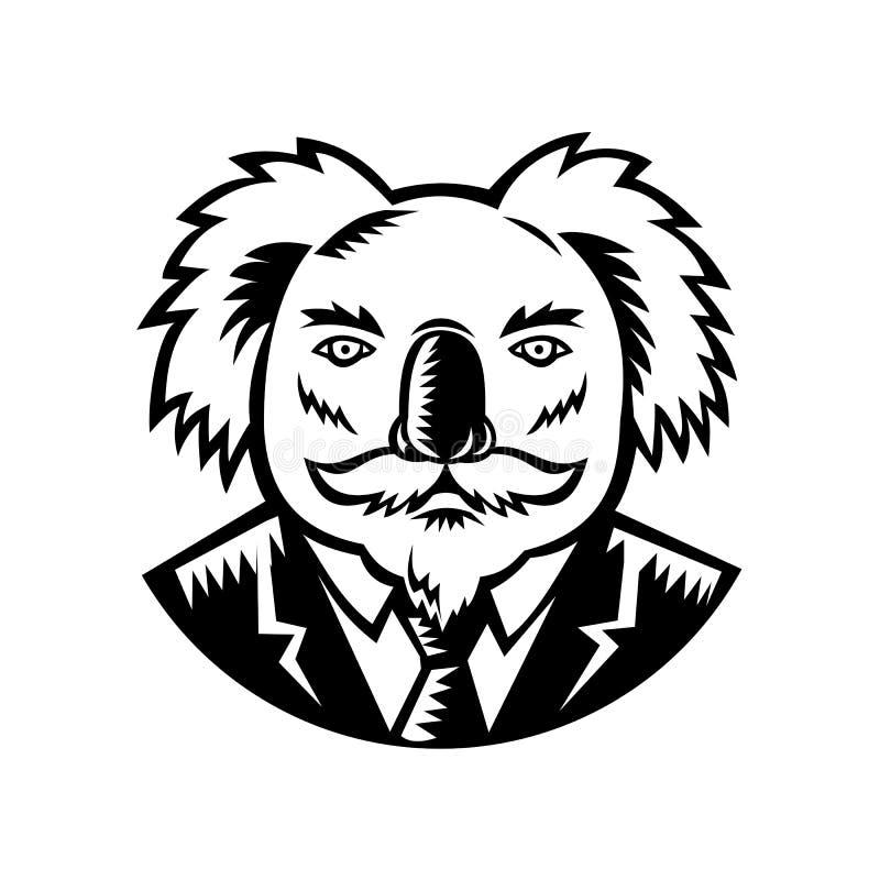 Koala Z wąsa Woodcut Czarny I Biały ilustracja wektor