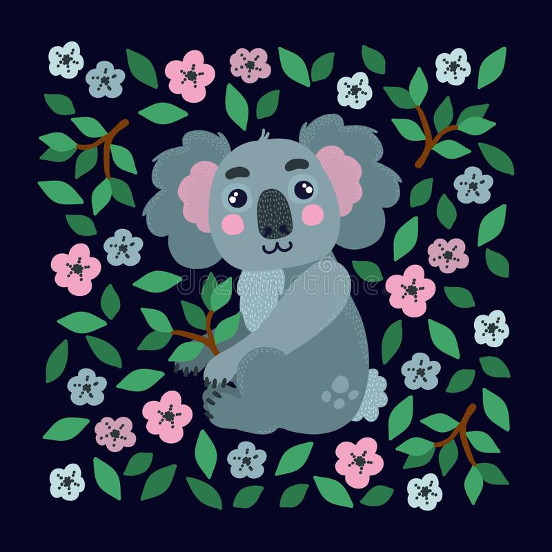 Koalacharakter mit Blumenvektor stock abbildung