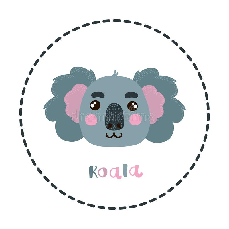 Koalahauptgesichtstierporträt-Vektorillustration stock abbildung