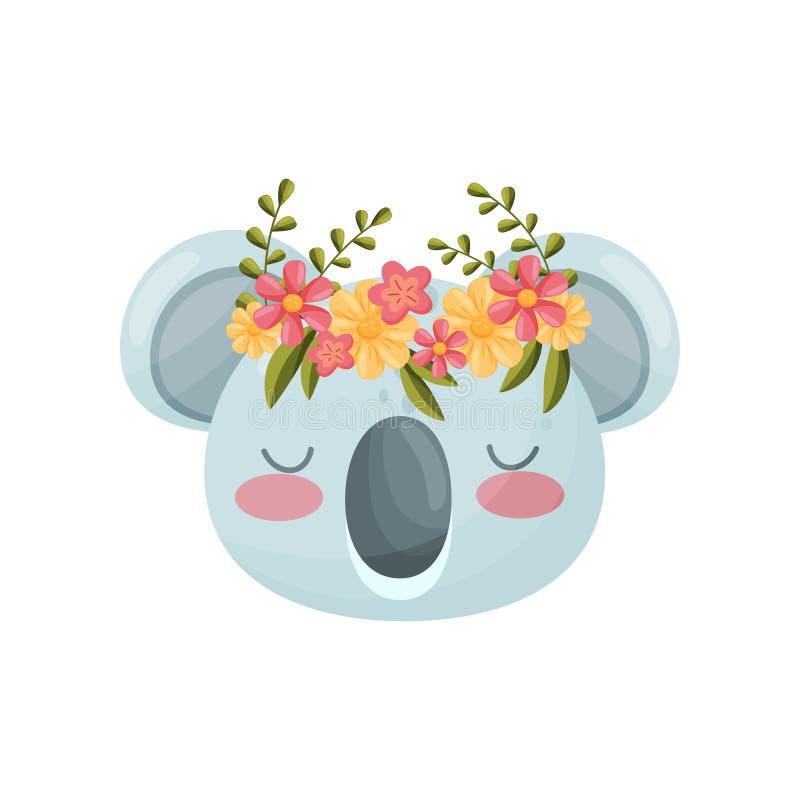 Koalahuvud med blommakransen Flora- och faunabegrepp stock illustrationer
