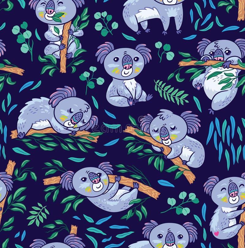 Koalas διασκέδασης στο άνευ ραφής σχέδιο ευκαλύπτων Συρμένη χέρι διανυσματική απεικόνιση απεικόνιση αποθεμάτων