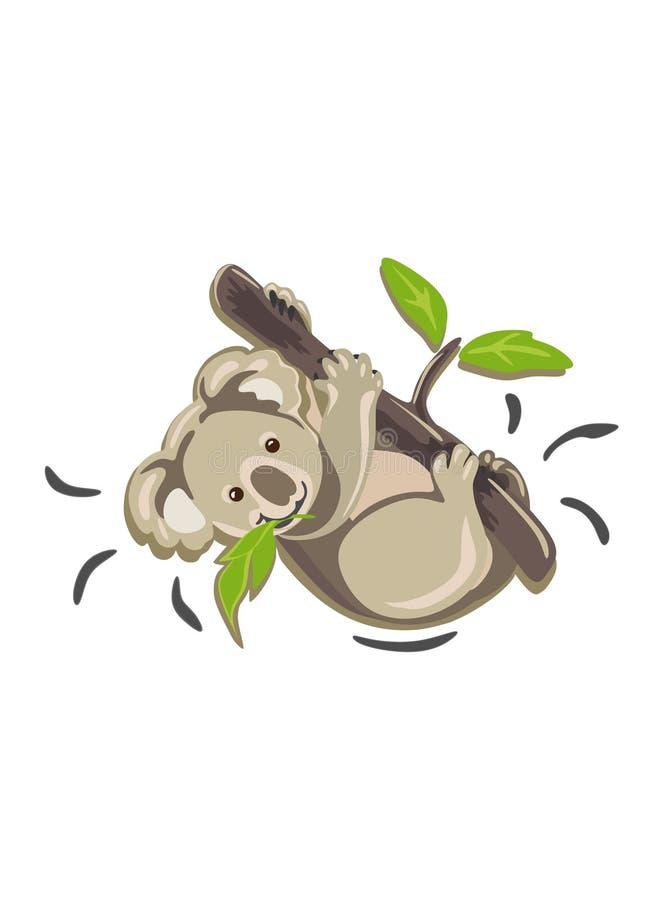 Koalavektorillustration Litet behandla som ett barn koalatecknad filmteckningen vektor illustrationer