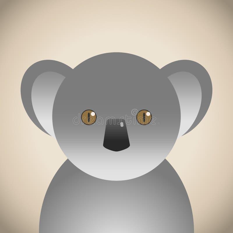 Koali Doodle zwierzęca twarz, śliczna zwierzęca twarzy kreskówka royalty ilustracja