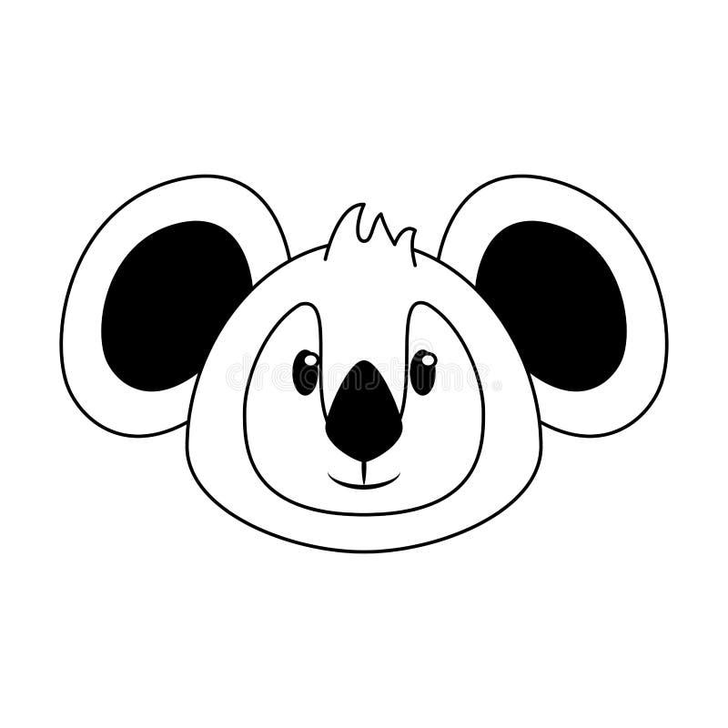 Koali kierowniczej przyrody ?liczna zwierz?ca kresk?wka w czarny i bia?y royalty ilustracja