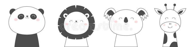 Koali pandy niedźwiedzia lwa żyrafy twarzy głowy nakreślenia linii ikony set Kawaii zwierz? ?liczny posta? z kresk?wki Śmieszny d ilustracji