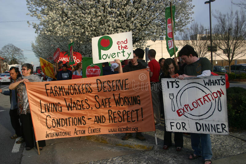 Koalition des Protestes der Immokalee Arbeitskräfte (CIW) lizenzfreie stockfotos
