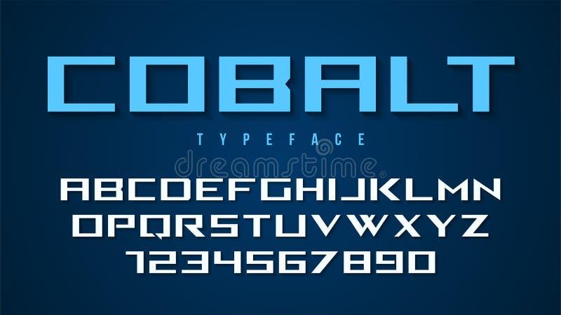Kobalt chrzcielnicy wektorowy dekoracyjny projekt, abecadło, typeface, typogr ilustracja wektor
