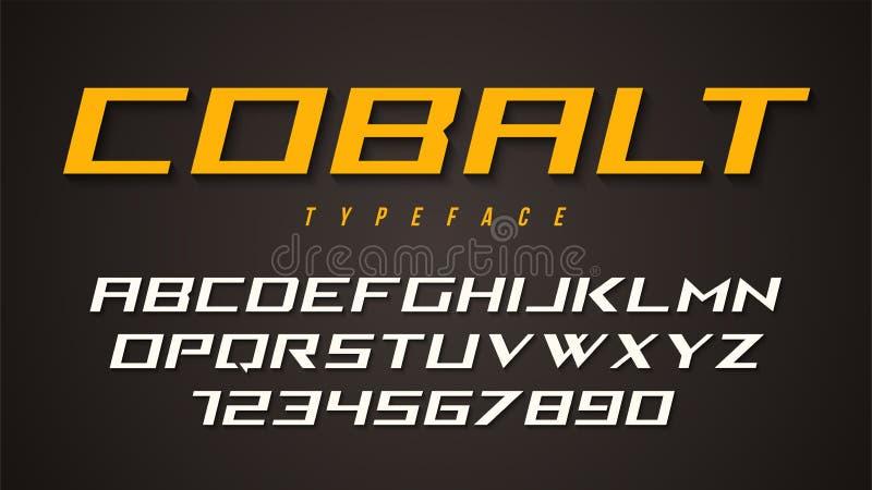 Kobalt chrzcielnicy wektorowy dekoracyjny projekt, abecadło, typeface, typogr ilustracji