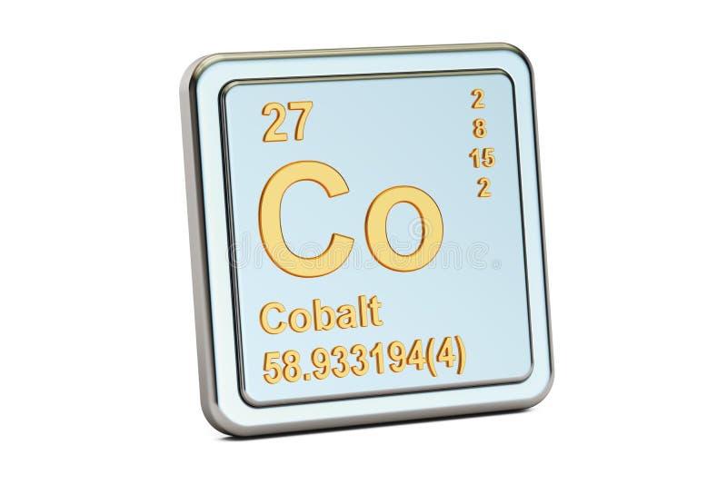 Kobalt Co, chemicznego elementu znak świadczenia 3 d ilustracja wektor
