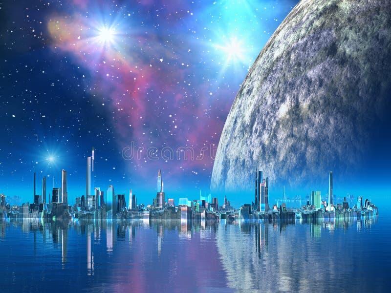 Kobalt-Inseln - Städte der Zukunft stock abbildung